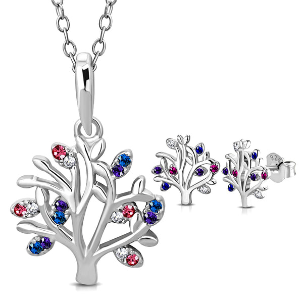 925 Sterling Silver CZ Tree of Life Necklace Earrings Set