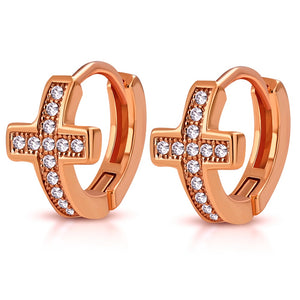 Rose Cross Huggie Hoops