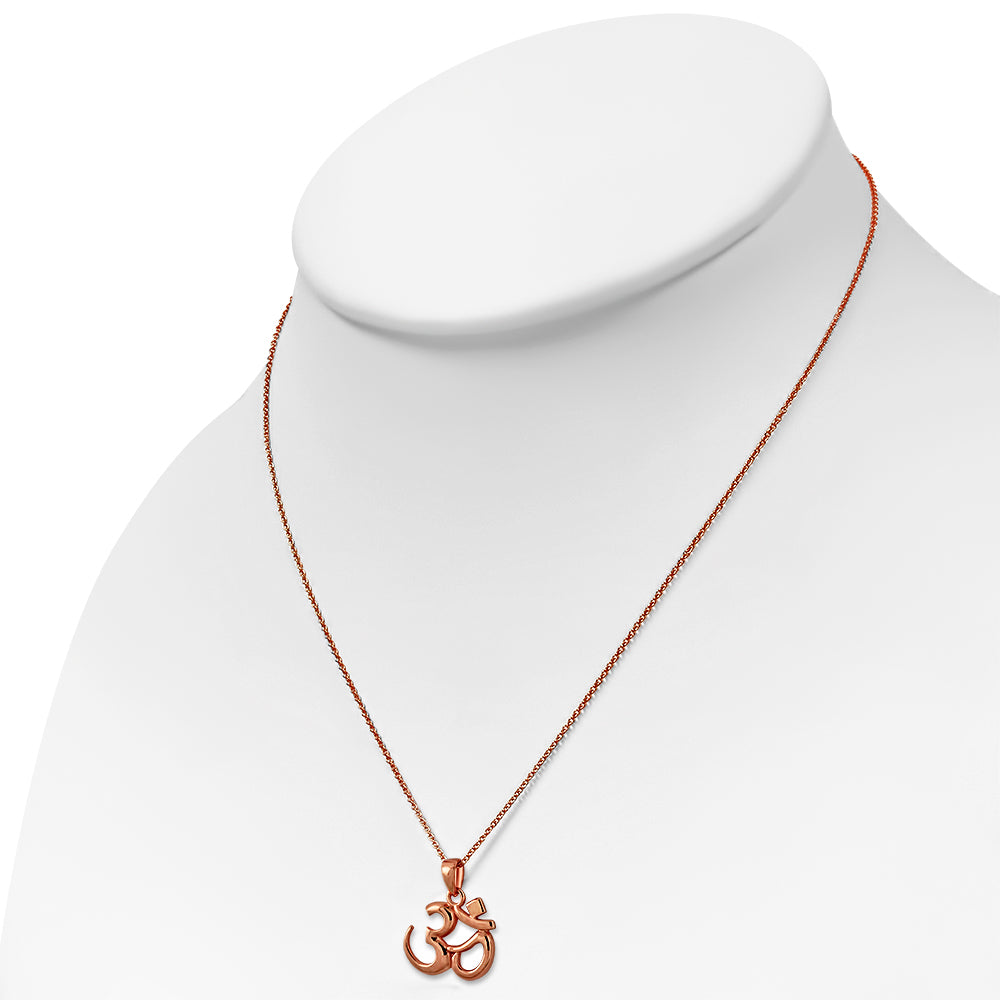 925 Sterling Silver Rose Gold-Tone Om Aum Ohm Yoga Pendant Necklace