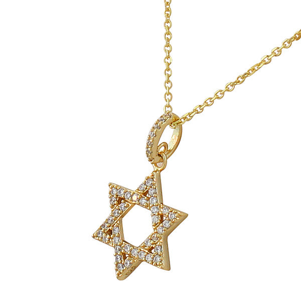 Gold Star of David Necklace Pendant Sterling Silver Cubic Zirconia