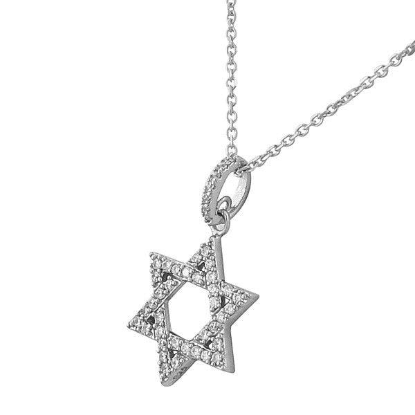 Cubic Zirconia Jewish Star of David Necklace Pendant