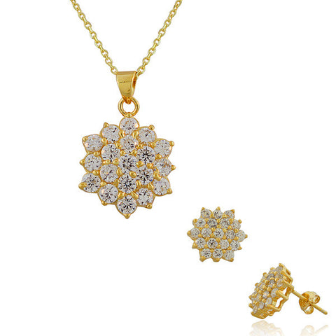 925 Sterling Silver Yellow Gold-Tone White CZ Womens Pendant Necklace Stud Earrings Set