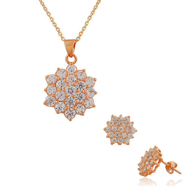 925 Sterling Silver Rose Gold-Tone White CZ Pendant Necklace Stud Earrings Set
