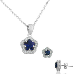 925 Sterling Silver Royal Blue White CZ Flower Charm Womens Pendant Necklace Stud Earrings Set