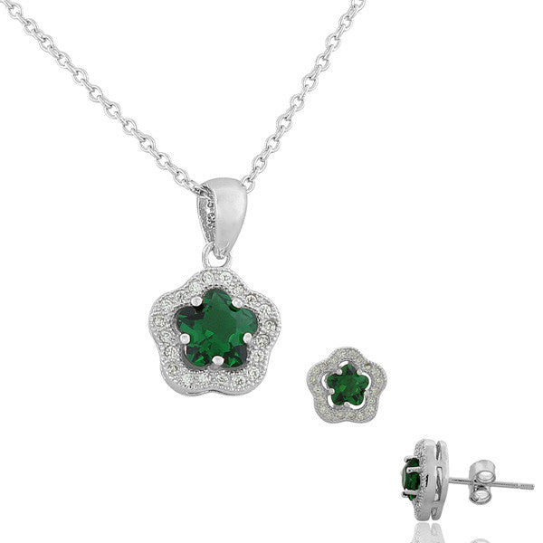 925 Sterling Silver Emerald-Tone Green White CZ Flower Charm Womens Pendant Necklace Stud Earrings Set