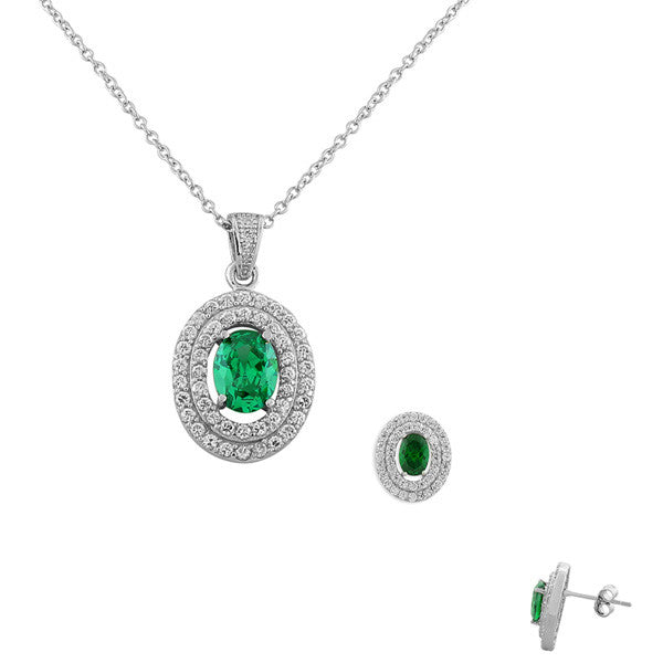 925 Sterling Silver Green Emerald-Tone White CZ Oval Charm Pendant Necklace Stud Earrings Set