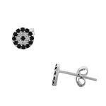 925 Sterling Silver Black White CZ Hamsa Evil Eye Womens Girls Stud Earrings