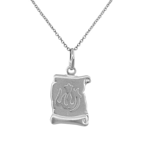 925 Sterling Silver  Muslim Islam God Allah Scroll Pendant Necklace with Chain