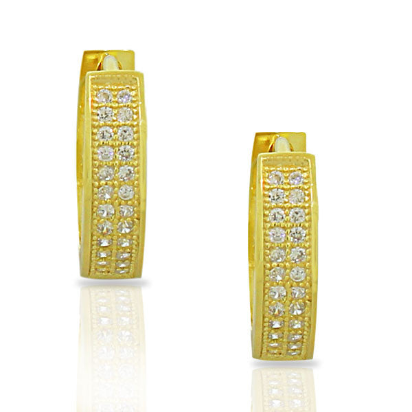 925 Sterling Silver Yellow Gold-Tone White Round CZ Womens Hoop Huggie Earrings