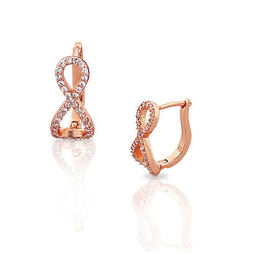 925 Sterling Silver Rose Gold White CZ Infinity Womens Hoop Huggie Latch Back Earrings
