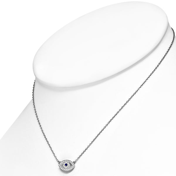 Small Evil Eye Necklace Sterling Silver