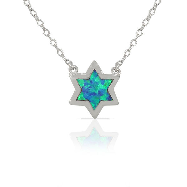 925 Sterling Silver Jewish Star of David Blue Turquoise-Tone Simulated Opal Pendant Necklace