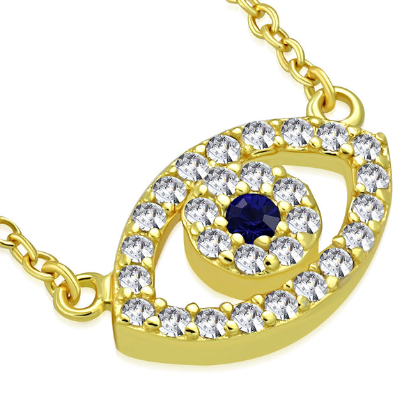 Gold Evil Eye Necklace Pendant Sterling Silver Cubic Zirconia