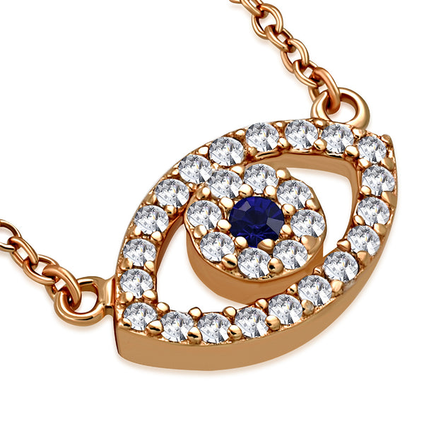 Rose Gold Evil Eye Necklace Pendant Sterling Silver