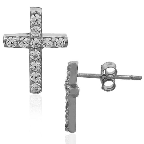 925 Sterling Silver White CZ Classic Latin Cross Religious Womens Girls Stud Earrings