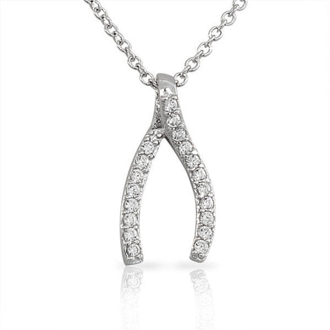 925 Sterling Silver Classic White CZ Wishbone Womens Girls Pendant Necklace