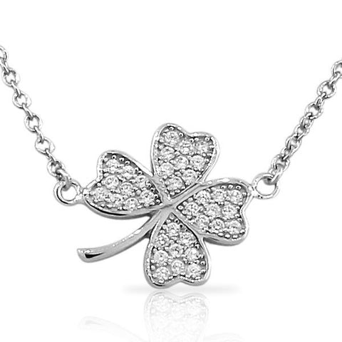 925 Sterling Silver Flower Clover White CZ Womens Pendant Necklace