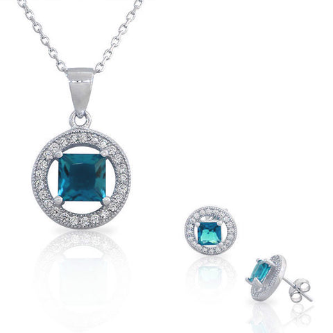 925 Sterling Silver Aquamarine-Tone Blue White CZ Round Square Pendant Necklace Stud Earrings Set