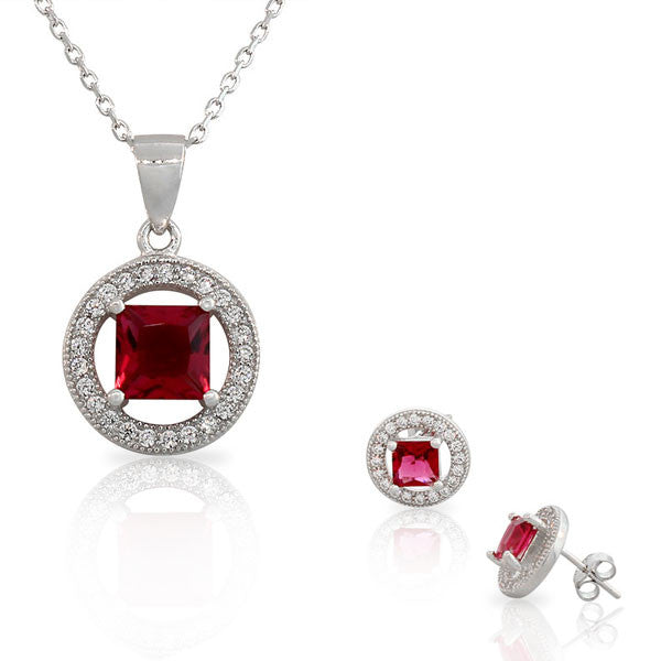925 Sterling Silver Pink White CZ Round Square Pendant Necklace Stud Earrings Set