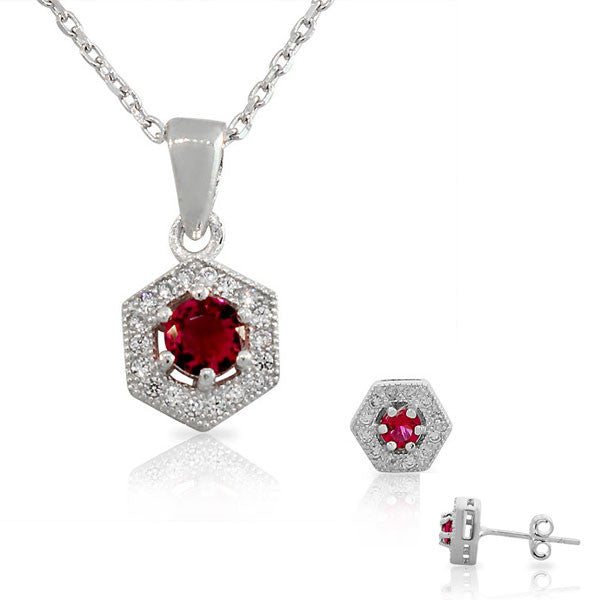 925 Sterling Silver Pink White CZ Hexahedron Round Pendant Necklace Stud Earrings Set