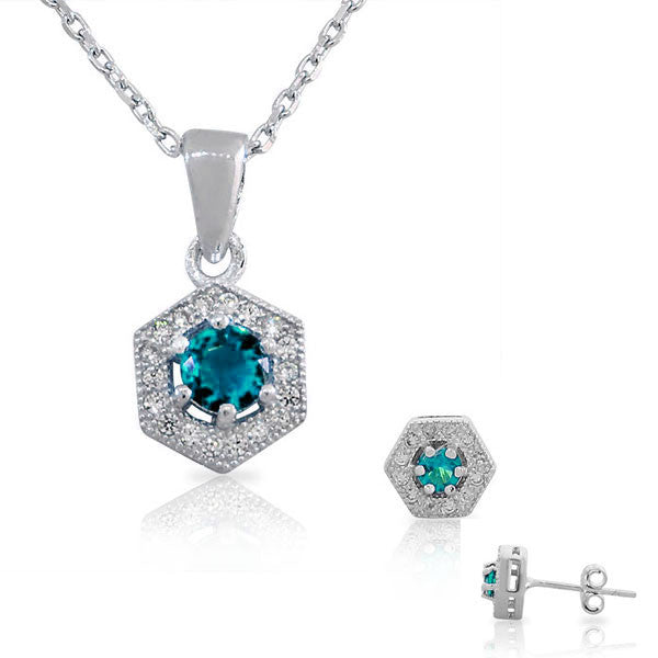 925 Sterling Silver Aquamarine-Tone Blue White CZ Hexahedron Round Pendant Necklace Stud Earrings Set