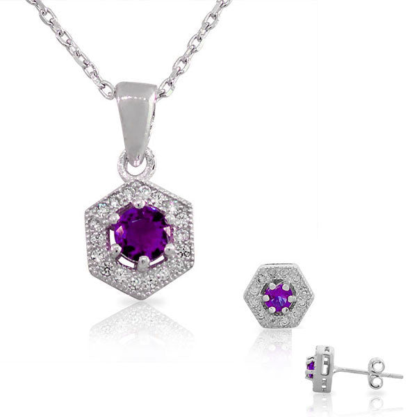 925 Sterling Silver Amethyst-Tone Purple Violet White CZ Hexahedron Round Pendant Necklace Stud Earrings Set