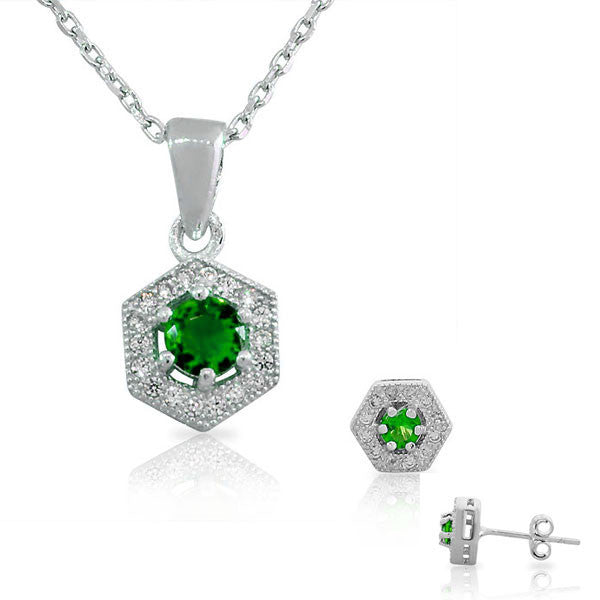 925 Sterling Silver Emerald-Tone Green White CZ Hexahedron Round Pendant Necklace Stud Earrings Set