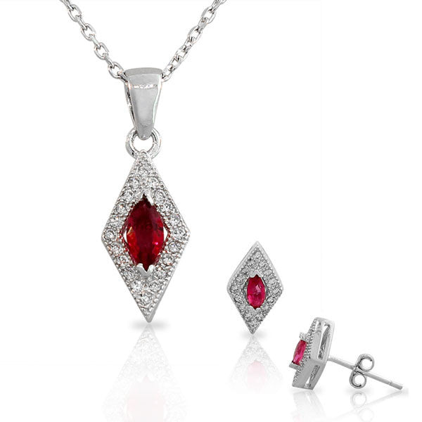 925 Sterling Silver Pink White CZ Diamond-Shaped Pendant Necklace Stud Earrings Set