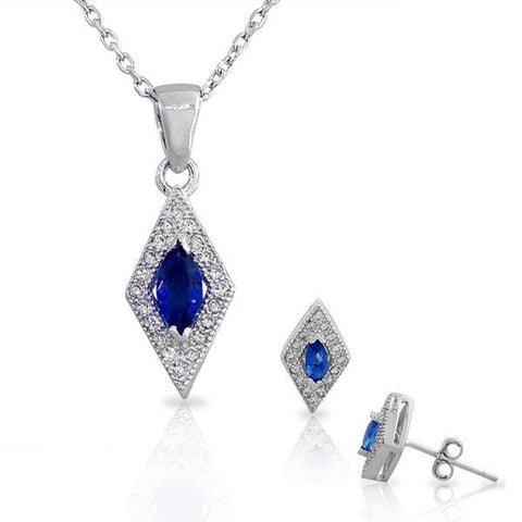 925 Sterling Silver Sapphire-Tone Blue White CZ Diamond-Shaped Pendant Necklace Stud Earrings Set