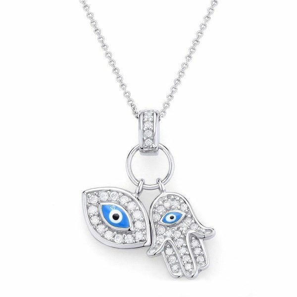 Hamsa Evil Eye Sterling Silver Cubic Zirconia Necklace Pendant