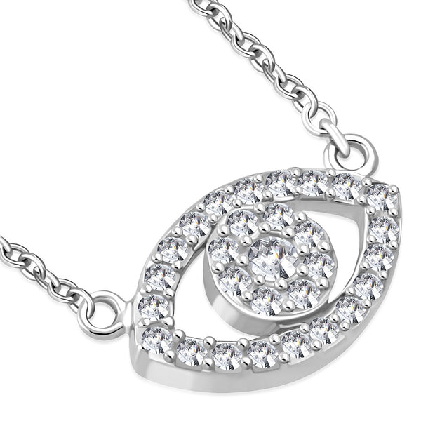 Frosted Cubic Zirconia Evil Eye Necklace Pendant Sterling Silver