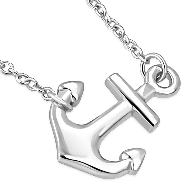 Sideways Anchor Marine Pendant Necklace Sterling Silver