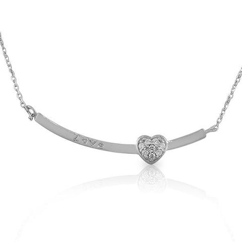 925 Sterling Silver Womens Girls Arch Love Heart Inscription White CZ Pendant Necklace
