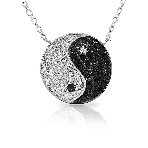 925 Sterling Silver Womens Classic Yin and Yang White Black CZ Pendant Necklace