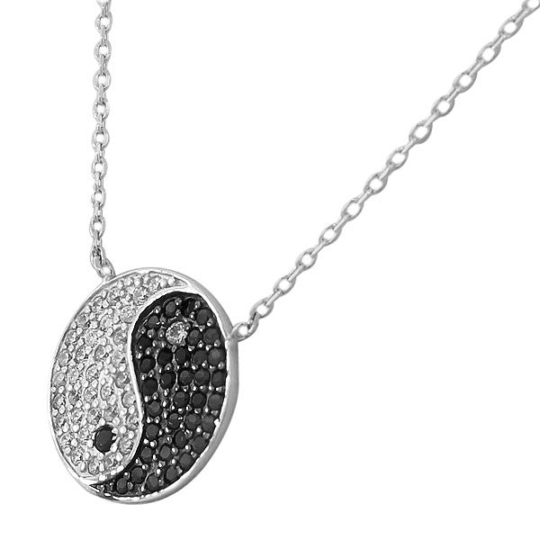 Yin Yang Necklace in Sterling Silver and Cubic Zirconia