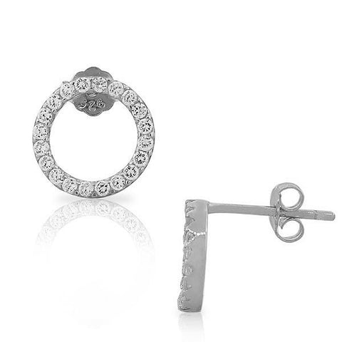 925 Sterling Silver Classic Round CZ Womens Girls Stud Earrings