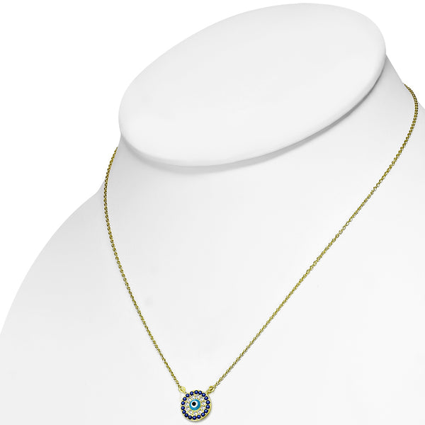 Gold Turkish Evil Eye Cubic Zirconia Necklace Pendant Sterling Silver