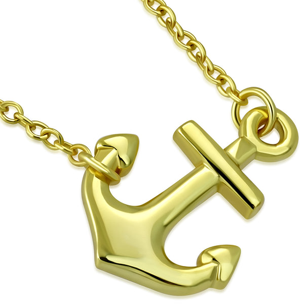 Gold Sideways Anchor Necklace Pendant Sterling Silver