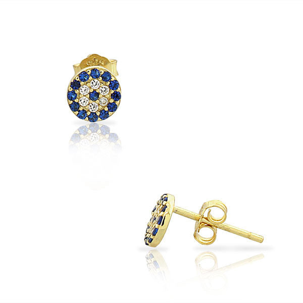 925 Sterling Silver Yellow Gold-Tone White Blue CZ Evil Eye Hamsa Small Womens Girls Stud Earrings