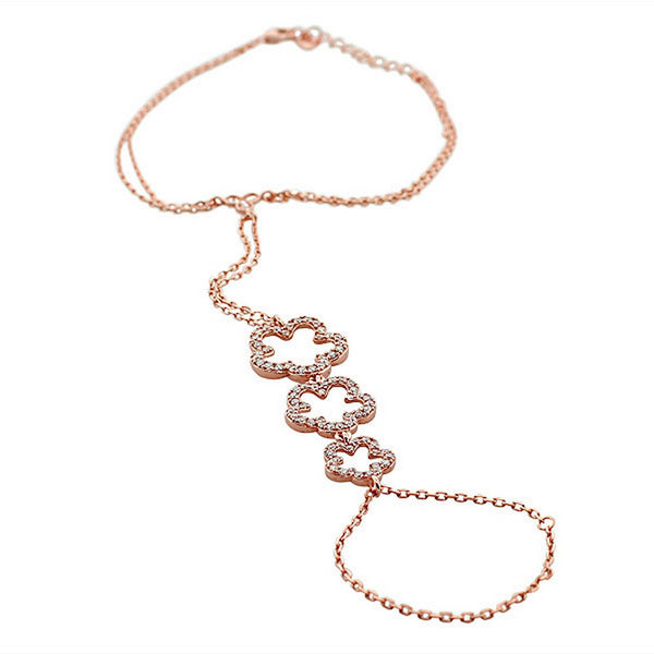 925 Sterling Silver Rose Gold-Tone Flower Clover White CZ Hand Jewelry Ring Link Chain Bracelet