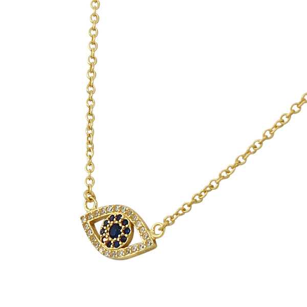 Gold Blue CZ Evil Eye Necklace Sterling Silver