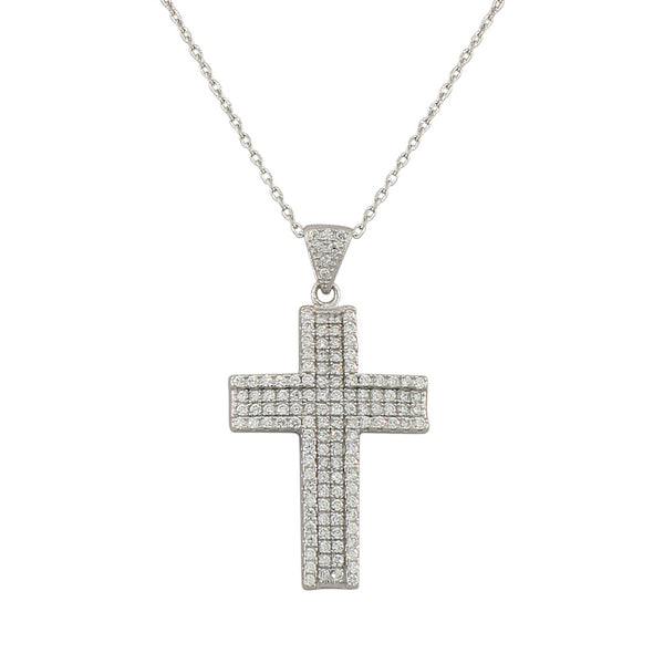 925 Sterling Silver  Womens Classic Latin Cross CZ Religious Pendant Necklace