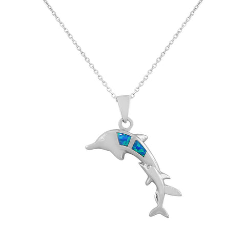 925 Sterling Silver  Womens Dolphin Blue Turquoise Simulated Opal Pendant Necklace