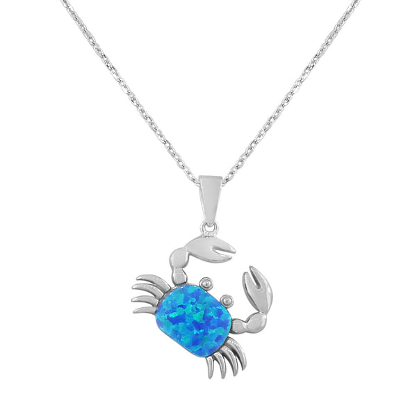 925 Sterling Silver  Womens Blue Turquoise-Tone Crab Marine Simulated Opal Pendant Necklace