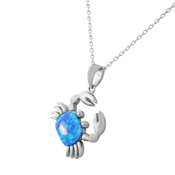 Opal Crab Necklace Pendant Sterling Silver