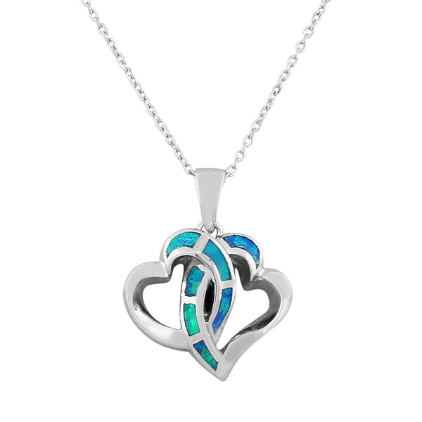 925 Sterling Silver  Womens Blue Turquoise-Tone Double Love Heart Simulated Opal Pendant Necklace