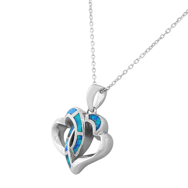 Inlay Opal Intertwined Heart Necklace Pendant Sterling Silver