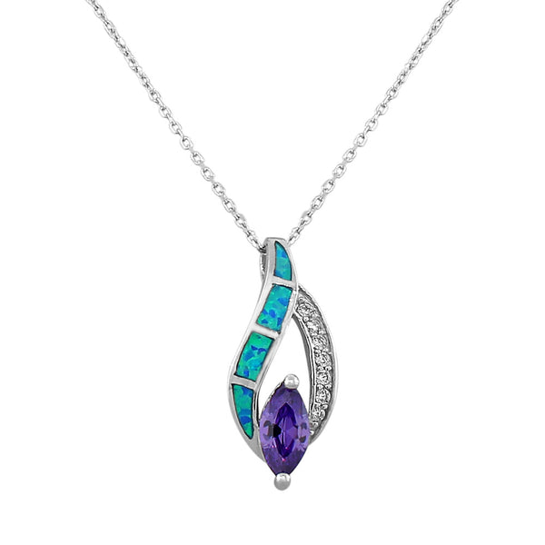 925 Sterling Silver Blue Turquoise-Tone Simulated Opal Amethyst-Tone CrystalCZ Pendant Necklace