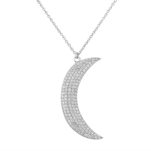 925 Sterling Silver White CZ Womens Large Statement Crescent Half-Moon Pendant Necklace