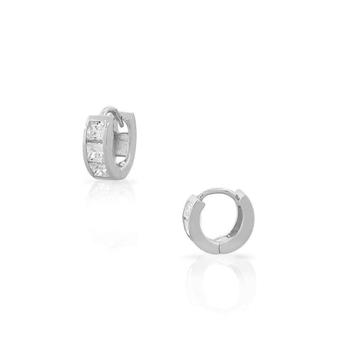 925 Sterling Silver Princess-Cut White CZ Small Hoop Huggie Girls Earrings
